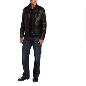 Kenneth Cole Men's Black Faux Leather Jacket Large